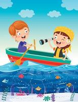 Cute Little Children On Boat vector