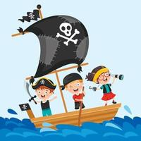 Cute Little Pirate Children Posing vector