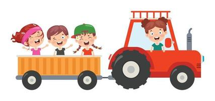 Funny Kid And A Tractor vector