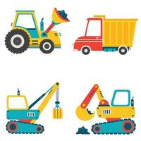 Set Of Various Construction Machines vector