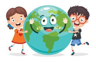 Earth Day Concept With Funny Kids vector