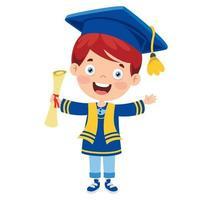 niño feliz de la escuela graduándose vector