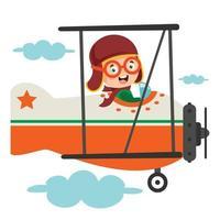 niño feliz volando en avión vector