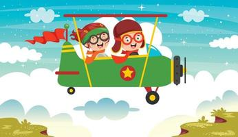 Funny Kids Flying With Airplane vector