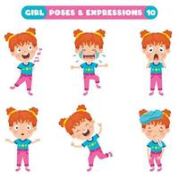 Poses And Expressions Of A Funny Girl vector