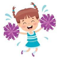 Funny Cheerleader Holding Colorful Pom Poms vector
