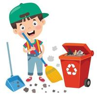 Funny Kid Cleaning The Environment vector