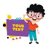 Funny Child Presenting And Pointing vector