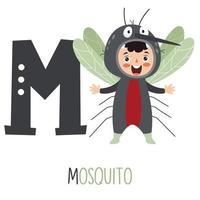 personaje en traje animal mostrando la letra del alfabeto vector