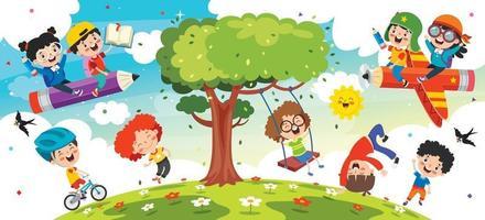 Cartoon Kids Playing vector