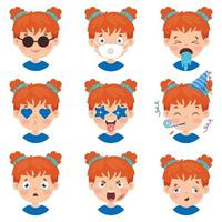Set Of Different Expressions Of Kids vector