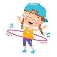 Happy Kid Doing Gymnastics Exercise vector