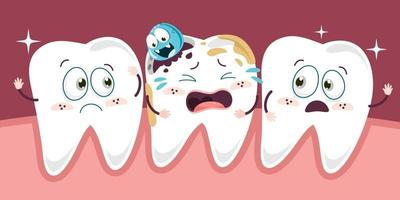 Teeth Health Care Concept With Cartoon Characters vector