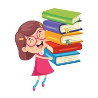 Cute Funny Kid Carrying Books vector