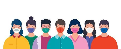 Health Concept Of People Wearing Medical Masks vector