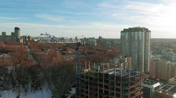 Highrise building aerial survey video