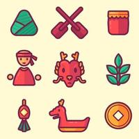 Dragon Boat Festival Icon Collections vector