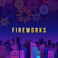 Fireworks Show with Skyline vector