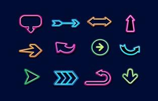 Arrow Neon Icon Pack vector