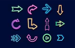 Arrow Neon Icon Collection vector