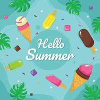 Summer Sweets Ice Cream Background vector
