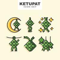 conjunto de iconos de comida ketupat vector