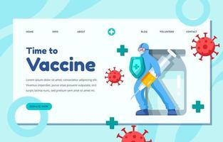 Vaccine Landing Page Concept vector