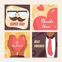 Card Collection for Celebrating Parents Day vector
