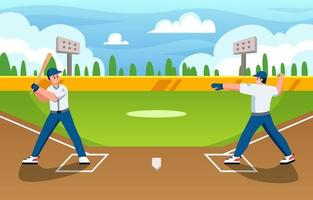 Playing Softball with Friend in Summer Day vector