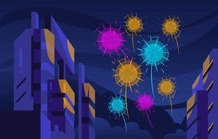 Festival Celebration with Beautiful Firework vector