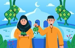 Celebrating Eid Al Fitr with Ketupat vector