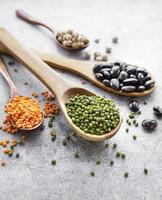 Spoons with different types of legumes photo