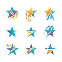 conjunto de icono de forma de estrellas para logotipo e insignia vector