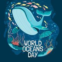World Oceans Day Poster Concept vector