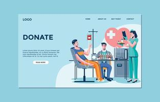 Landing Page Template of Blood Donation vector