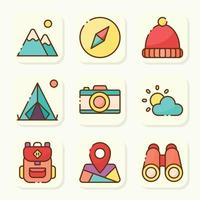 Summer Camp Activity Icon Pack vector
