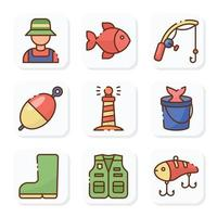 Fishing Activity Outdoor Icon Pack vector