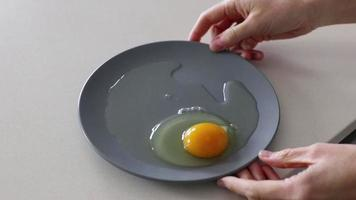 Hand holding grey dish with an egg yolk in it photo