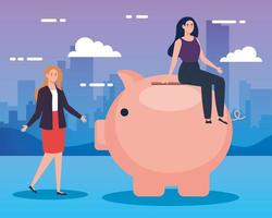 women with piggy bank in cityscape vector