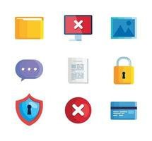 set of icons insecurity and technology error vector