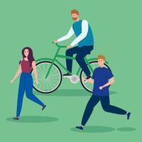 hombre en bicicleta y pareja corriendo vector