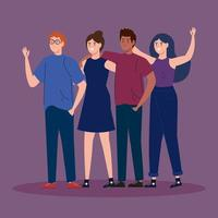 group young people together avatar characters vector