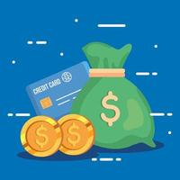 money bag with credit card and coins vector