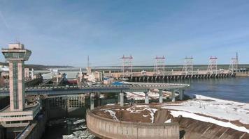 Hydro power plant aerial shoot video