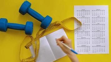 llenando un diario de dieta video
