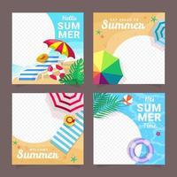 Sosial Media Summer Template Concept vector