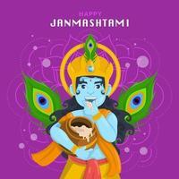 Celebration Janmashtami with Krishna Concept vector