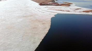 images de drone d'un bord de rivière glacé video