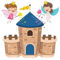 Fairy Tale Castle And Happy Children vector