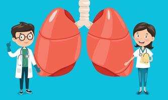 Cartoon Drawing Of Human Lungs vector